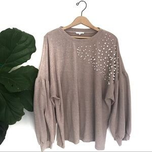 Easel Cream Bubble Sleeve Pearl Detail Sweater!